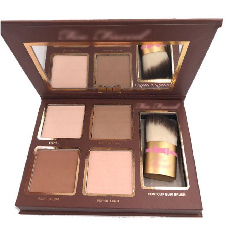 جديد COCOA Contour Kit Highlighters Palette Nude Colour Cosmetics الوجه المخفي مكياج ظلال الشوكولاته مع فرشاة كونتور بوكي