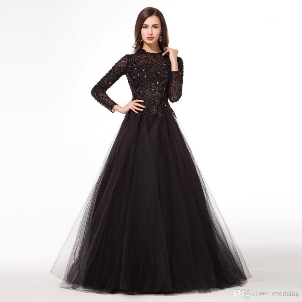 Modabelle Black Long Sleeve Long Evening Dress Abendkleider A-line ... 0e01c3e594e2