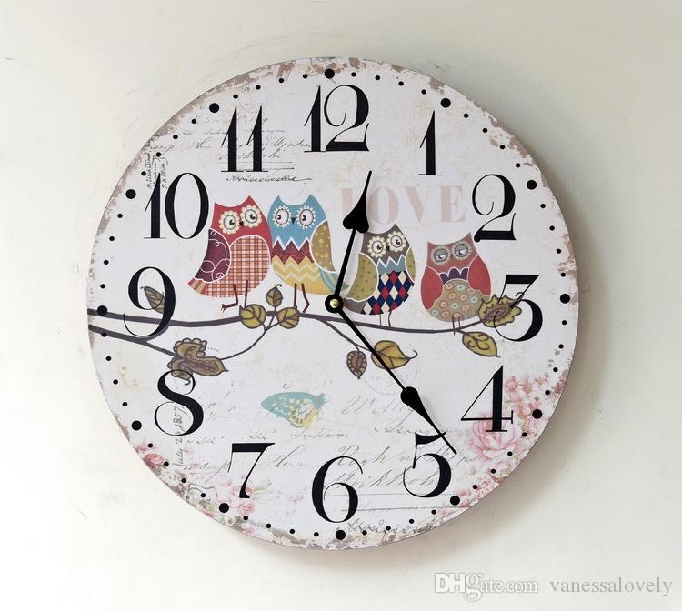 love owl pattern painting wood wall clock 35mm round decorative digital clock for home room deco large black and white wall clocks large black clock from