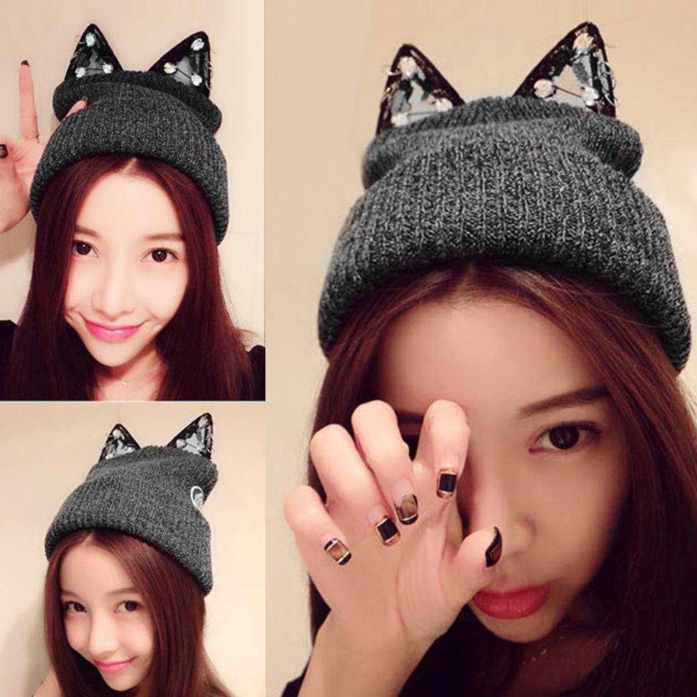 hat Gorro Beanie Cap Women Winter Warm Knitted Hat Wool Rhinestone Devil Horn Cat Ears Hat Skullies Beanies Female Hats DM#6
