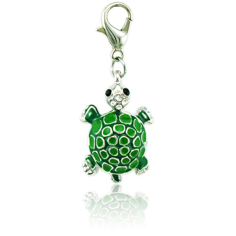 Fashion Bulk Charms Rhinestone Enamel Tortoise Lobster Clasp Animal DIY Pendants Jewelry Making Accessories