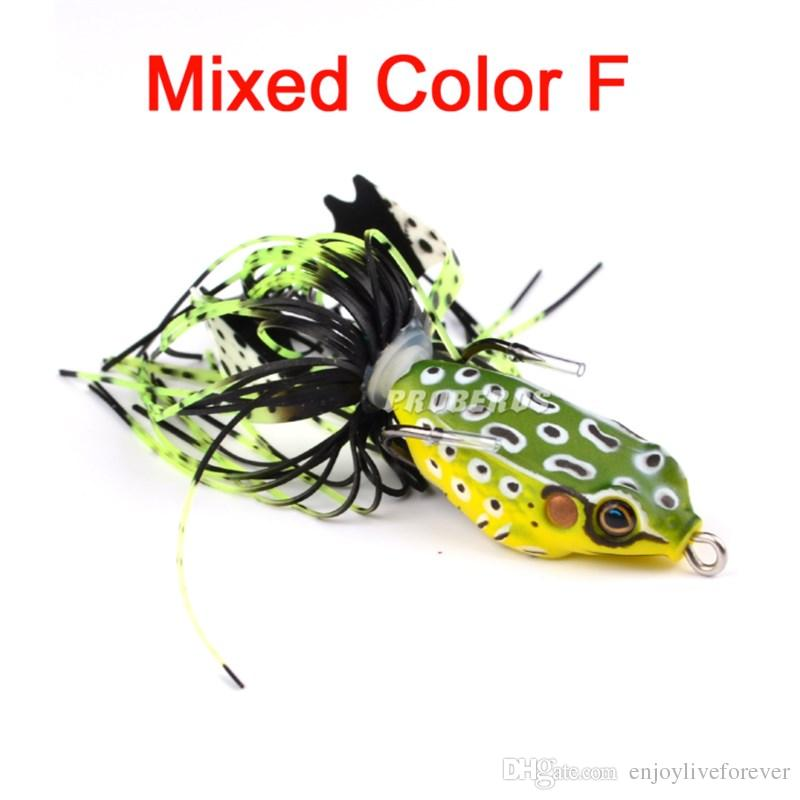 3D Eyes Lifelike Frog Fishing Baits Jig Head Hook 7.6g 5cm Soft Plastic Buzzbait Frog Fake Hard Lure for Snakehead