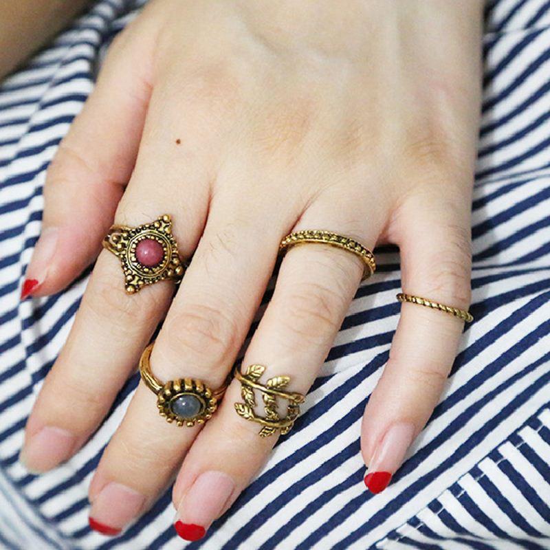 Vintage Punk Moon Ring Ethnic Hand Make Antique Gold Boho Midi