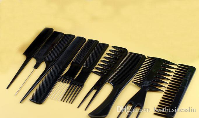 10 Unids Por Juego de Peines de Peluquería Profesional Set Set Kit de Cepillos para el Cabello de Peluquería Material de PP Bueno para el Hogar Herramientas de Cepillo