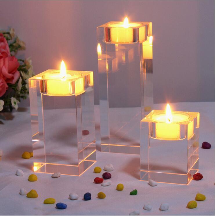 Bola de vidro espessamento À prova de ventosa castiçal Castiçal dentro da decoração do castiçal de vidro de cristal casamento romântico europeu para Buda