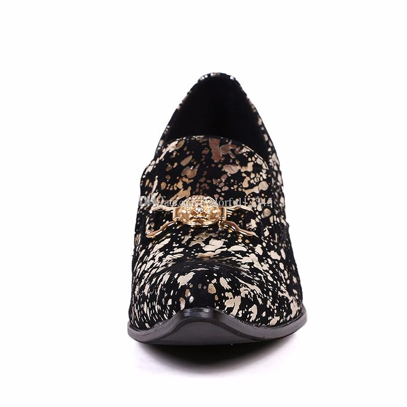 Décolleté con stampa floreale in oro stile inglese su scarpe oxford uomo Décolleté con punta arrotondata Chaussure Homme