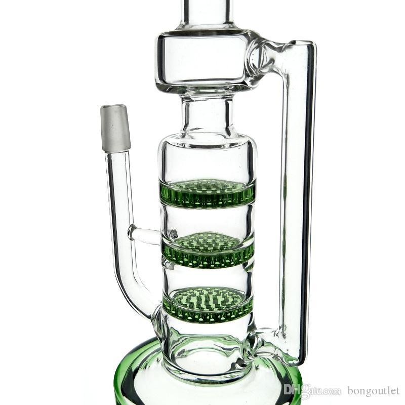 Top pipe ad acqua in vetro di qualità di vetro riciclatore bong a nido d'ape 10 pollici ad alta riciclatore 14 millimetri giunto maschio