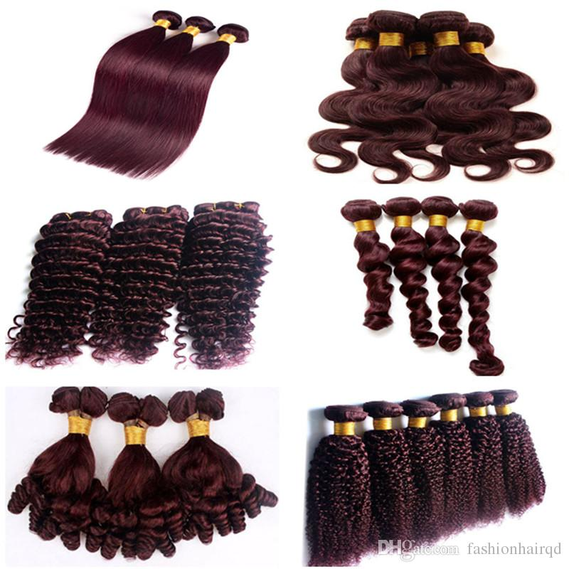 99j Loose Wave Malaysian Hair Bundles Cheap Burgundy Human Hair Weaves Double Weft Extensions Straight Body Deep Kinky Curly 6 Styles