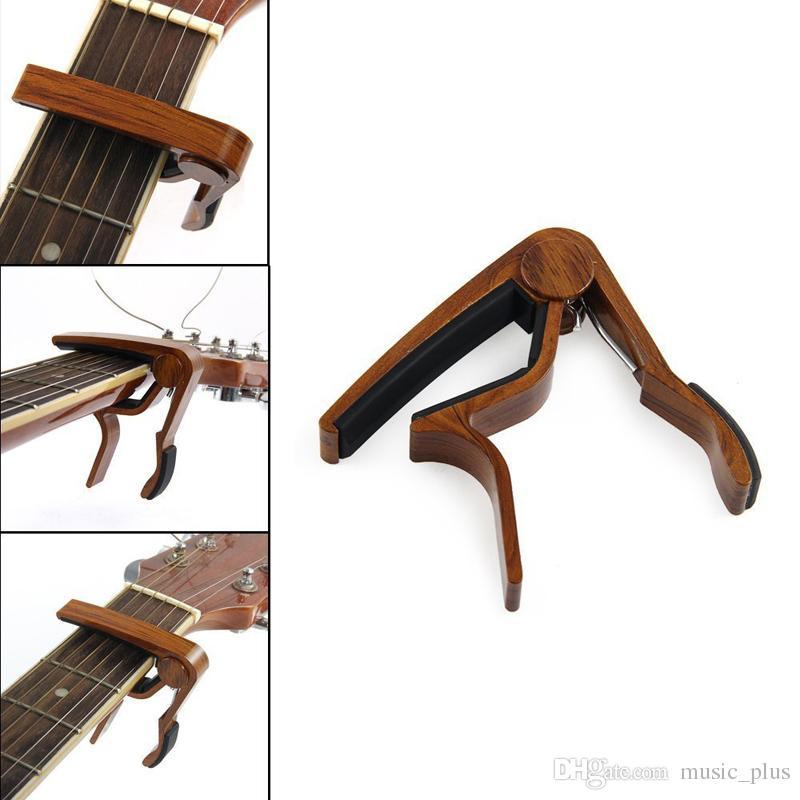 Free Wood Grain Guitar Capo Perfect for Acoustic Guitar Ukulele Banjo With Aluminum Material - Rose Wood