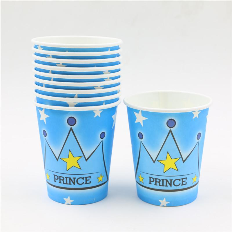 Wholesale-10pcs Prince crown theme Paper cups baby shower wedding  decoration boys birthday party supplies Drinking cup