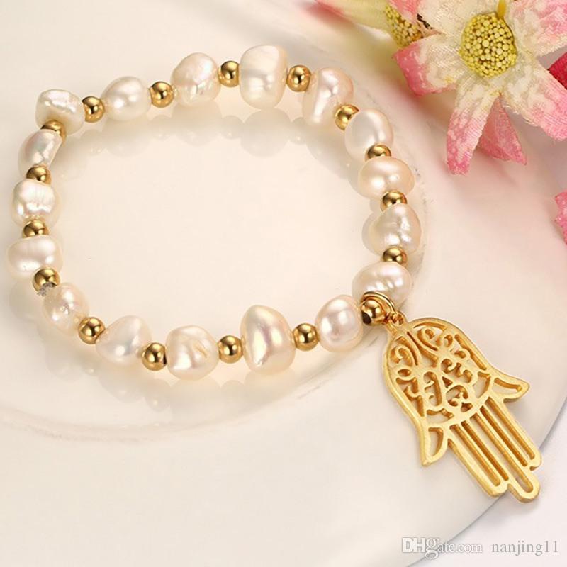 المرأة سوار اليد همسة الإسورة مطلية بالذهب مقلد اللؤلؤ 16.5 سنتيمتر الطول الساحرة سيدة سوار مجوهرات الزفاف BR-332