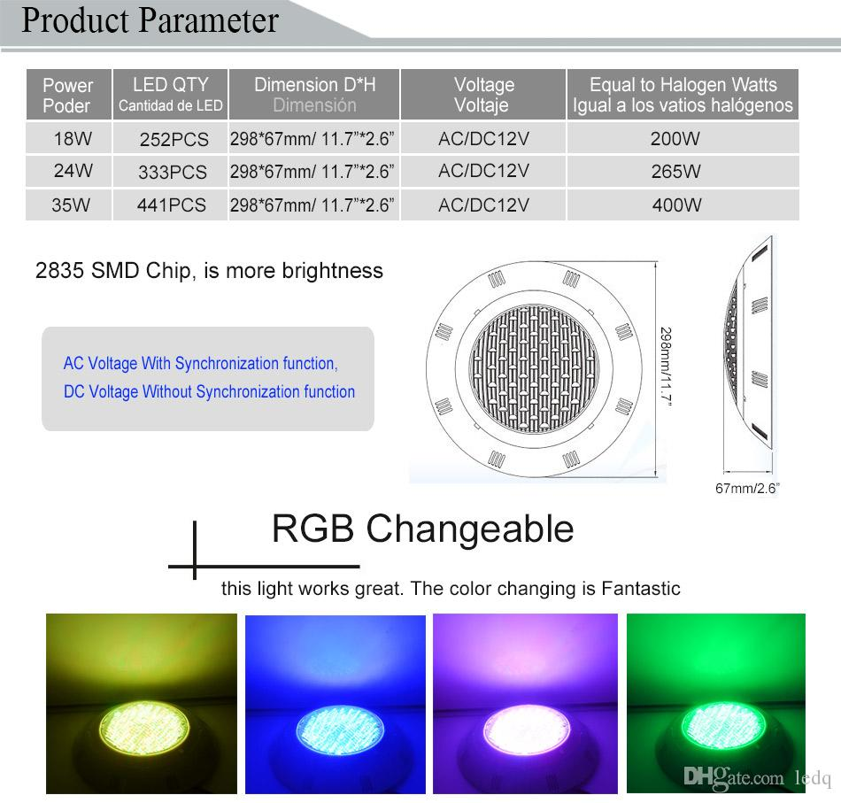 RGB Pool Light LED Cool white 18W 24W 35W AC 12V Swimming Pools Pond Piscina IP68 Underwater Lights Lamp Synchronize Control CE ROSH