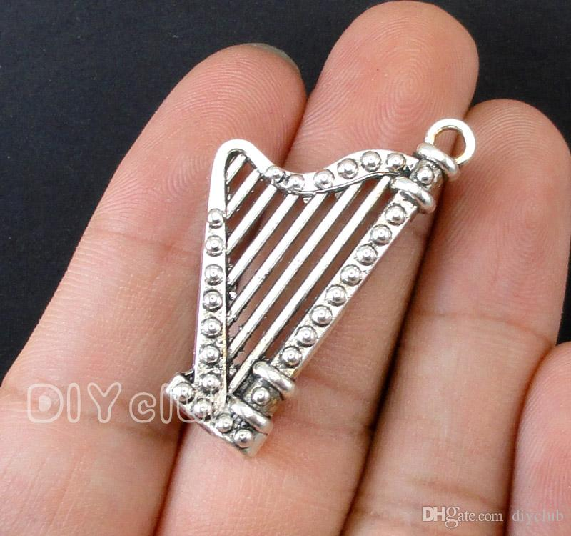 -Harp Charms, Antique Tibetan Silver 3D Microphone Mini Musical Instruments Trumpet Horn Music Charm Electric Guitar Pendants Jewelry