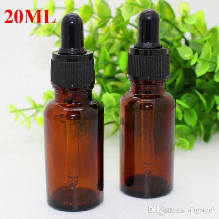 20ml szklana butelka bursztynowa butelki kroplomierza 20 ml okrągły kształt pustej butelki e-cieczy z czarną nasadką do olejku eterycznego