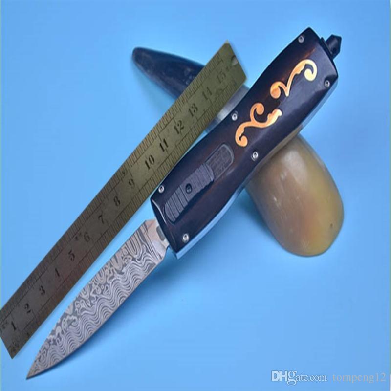 Hight recommander papillon bête double avant poignée en corne chasse pliant couteau de poche couteau de survie couteau cadeau de Noël pour les hommes livraison gratuite
