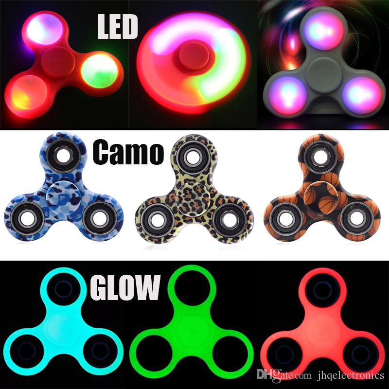 New Edc Fidget Spinner Glow In Dark Toy Finger Decompression Anxiety Stress Reliever Led Metal Aluminium Alloy Camoflage Camo With Box Candle Spinning Top