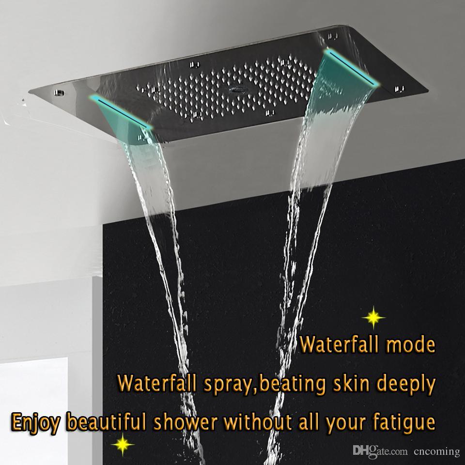온도 조절 샤워 패널 스테인레스 스틸 LED 비 폭포 큰 샤워 헤드 천장 욕실 수도꼭지 세트 벽 강수량 수도꼭지 유닛을 탑재