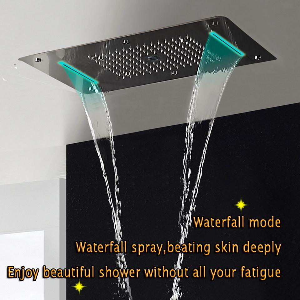 Thermostatische Dusche Panel Edelstahl LED Regen Wasserfall Große Duschkopf Decke Bad Wasserhahn Set Wand Montiert Niederschlag Armaturen Einheit