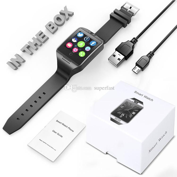 Q18 Akıllı İzle Android Akıllı Telefonlar için Bluetooth Akıllı saatler Destek SIM Kart Kamera Cevap Çağrı ve Set Çeşitli Dil Kutusu ile