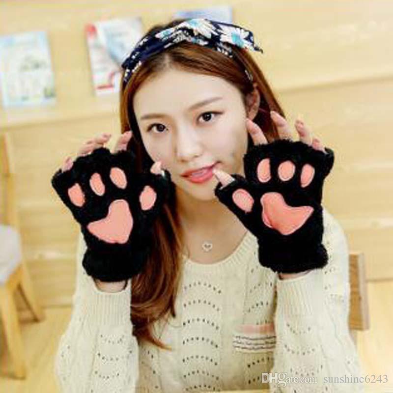 Cartoon Cats Paw Plush Mittens Short Fingerless Guanti mezze dita Bear Cat Plush Paw Claw Guanto mezze dita Morbido copri mezzi