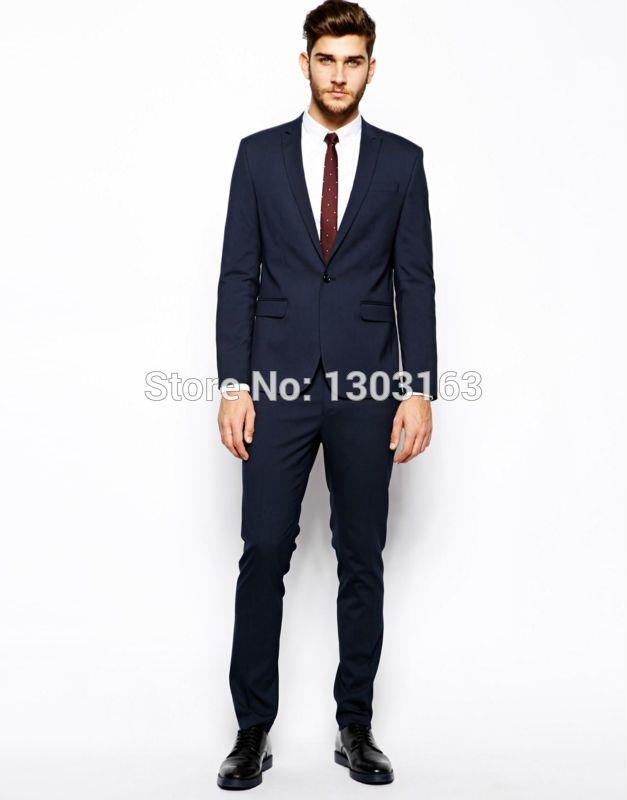 Acheter Vente En Gros Costume Bleu Foncé Sur Mesure Pour Homme ... 035863045c1