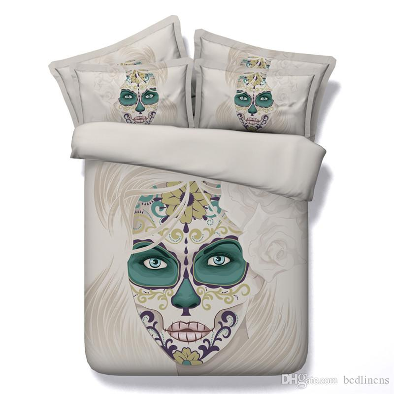4 Styles Halloween Painted White Skull 3D Printed Bedding Sets Twin Full Queen King Size Bedspreads Bedclothes Duvet Covers Set Gift Flower