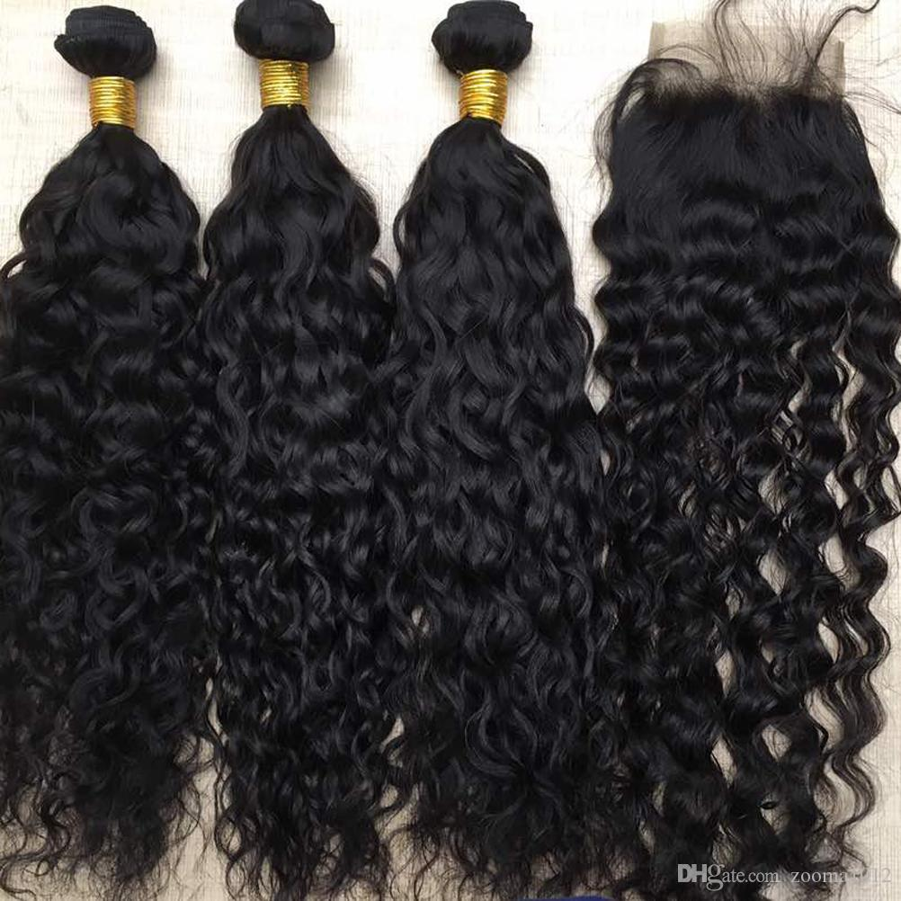 7A Water Wave Virgin Brazilian Hair Bundles With Lace Closure Unprocessed Peruvian Human Hair Weaves With Closure 1B Black Natural Hair Weft