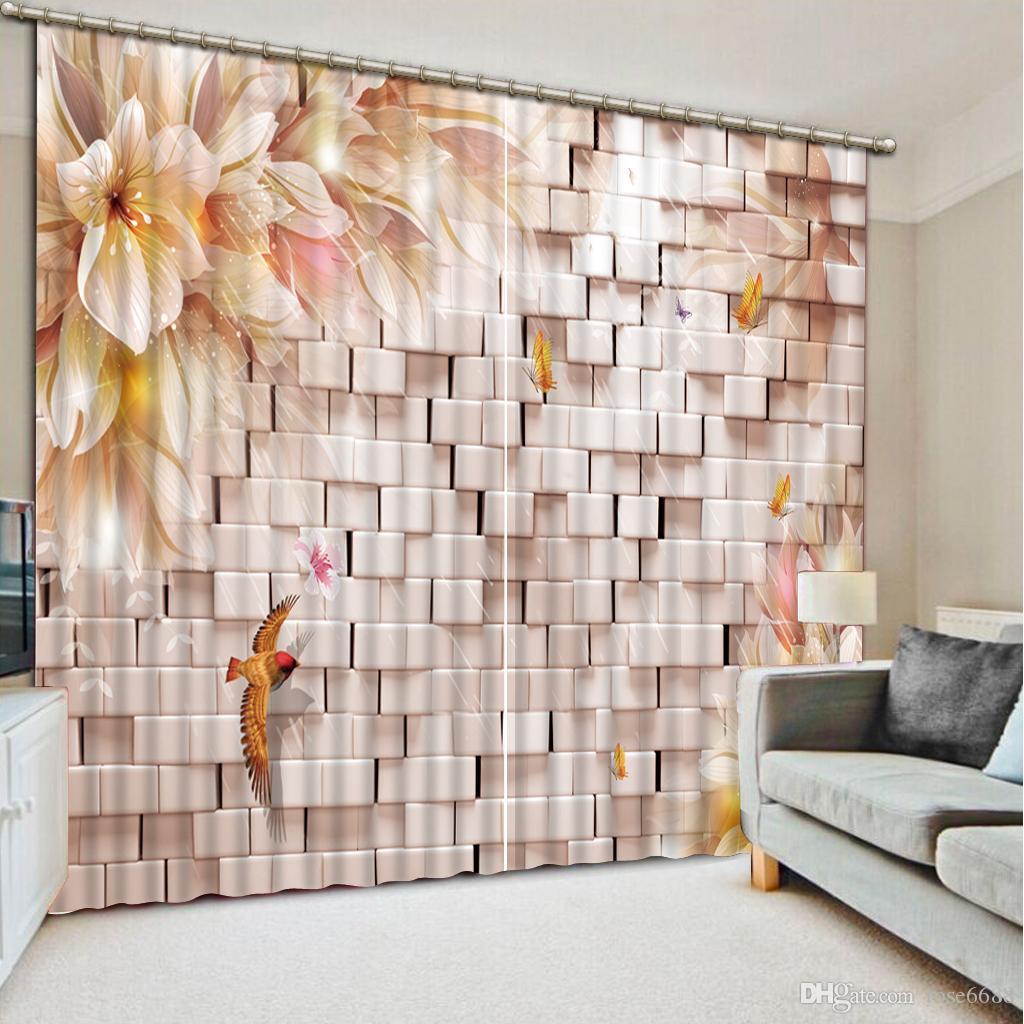 2017 Curtains Living Room Window Birck Flower Lily Window Curtain