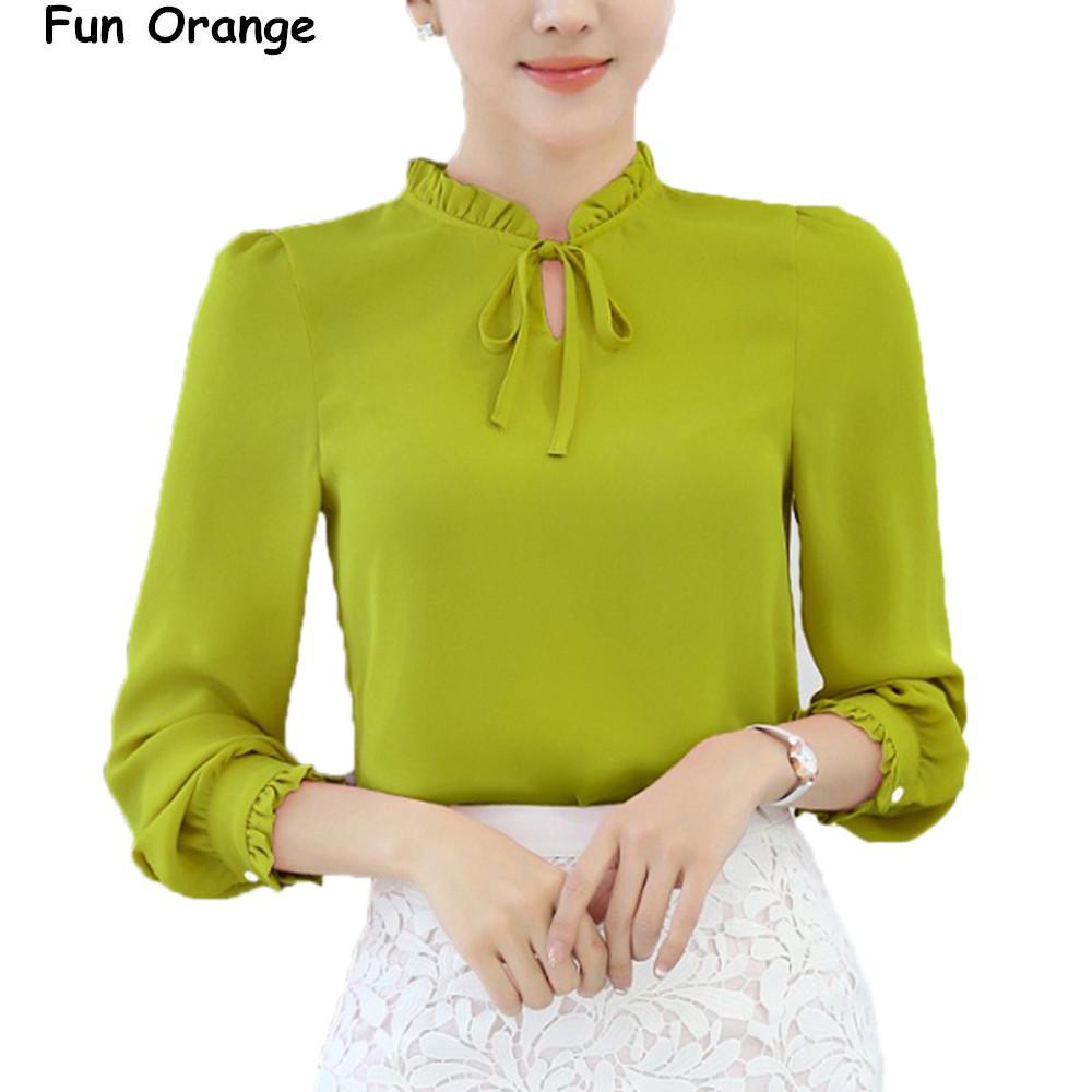 b282ce40de313 2019 Fun Oran Women Shirts Blouses Long Sleeve Stand Collar Elegant Ladies  Chiffon Blouse Tops Fashion Office Work Wear Chemise Femme Q170638 From  Shen8403