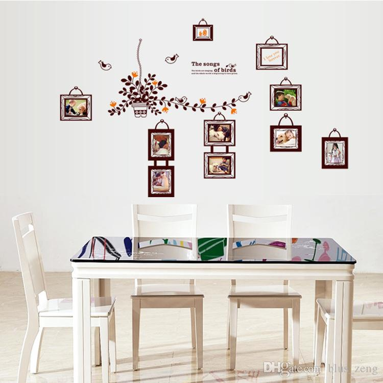 60*90cm Cute Birds Photo Frame Wall Stickers Diy Art Decal Removeable  Wallpaper Mural Sticker For Bedroom Living Room Dining Room Ay9224  Removable Stickers ...