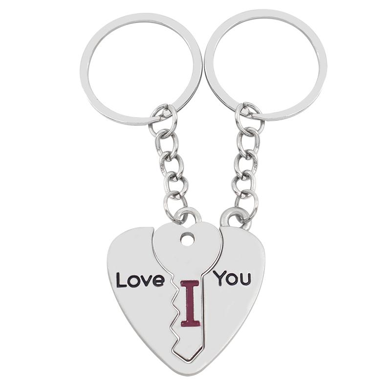 3 piece Broken Heart Puzzle Key Shape Keychain Stitch Couple I Love You Key Chain Ring For Lovers Charm Wedding Birthday Party Jewelry