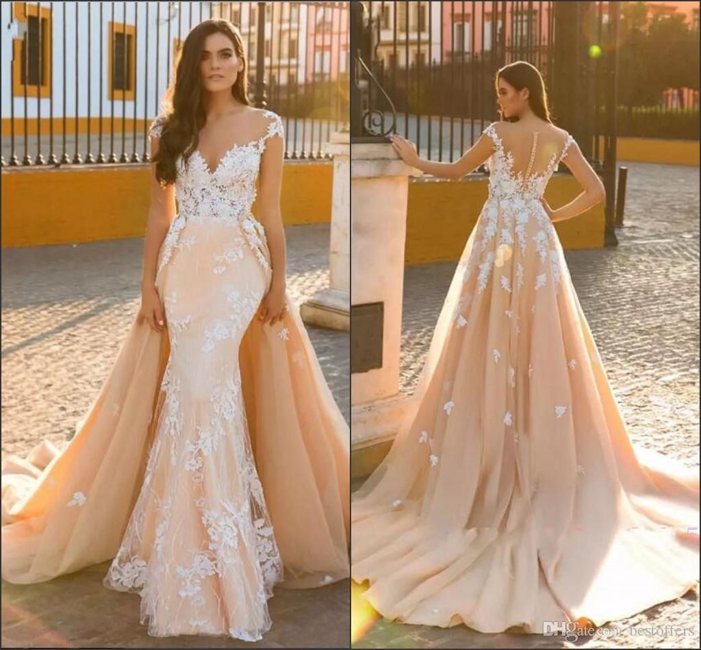 Cap Sleeve Champagne Vestido De Novia 2018 New Design Wedding Dresses Mermaid Bridal Gowns with Detachable Train Lace Appliques Custom