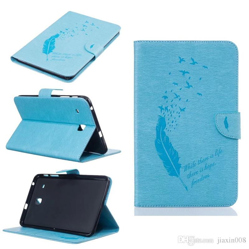 For Samsung Galaxy Tab E 8.0 inch T377 Tablet Leather Case Filp Cover Wallet Stand With Card Slot Embossed Feather bird Desgin