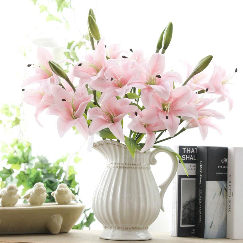 2018 Lily Flower Wedding Bouquet Film Flower Lily Home Furnishing ...