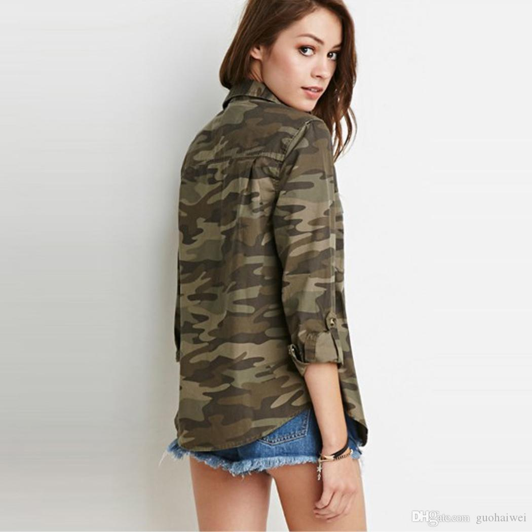 fashion new arrival women's clothing Lady Turn Down Collar Long Sleeve Camouflage Button Dwon Casual Shirts Female Top