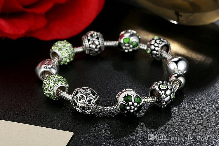 Sıcak stil Güzel Tibet gümüş Boncuk Bilezik Pandora Takılar Cam Boncuk DIY Boncuklu Tellerinin Bilezik Pembe Beyaz Mavi Yeşil 4 Renk Isteğe Bağlı