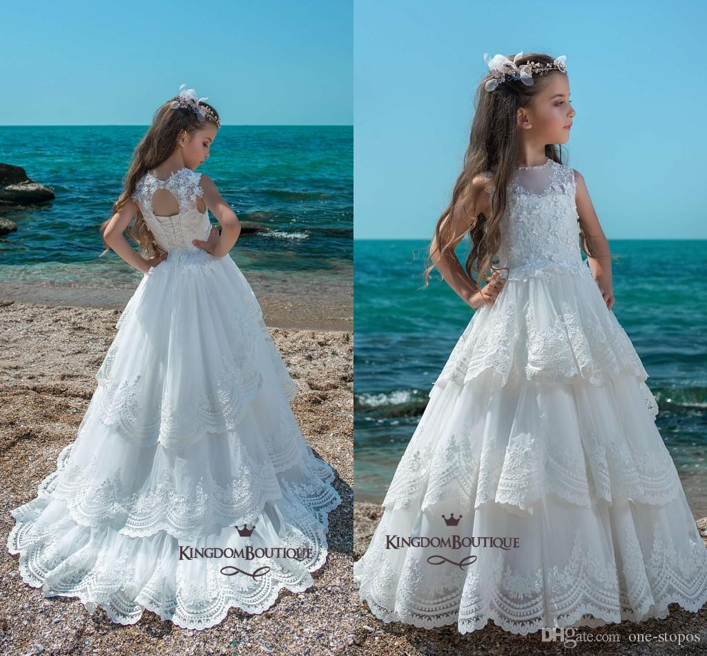 Princess Tiered Lace Ruffles Cupcake Girls Pageant Dresses 2018 ...