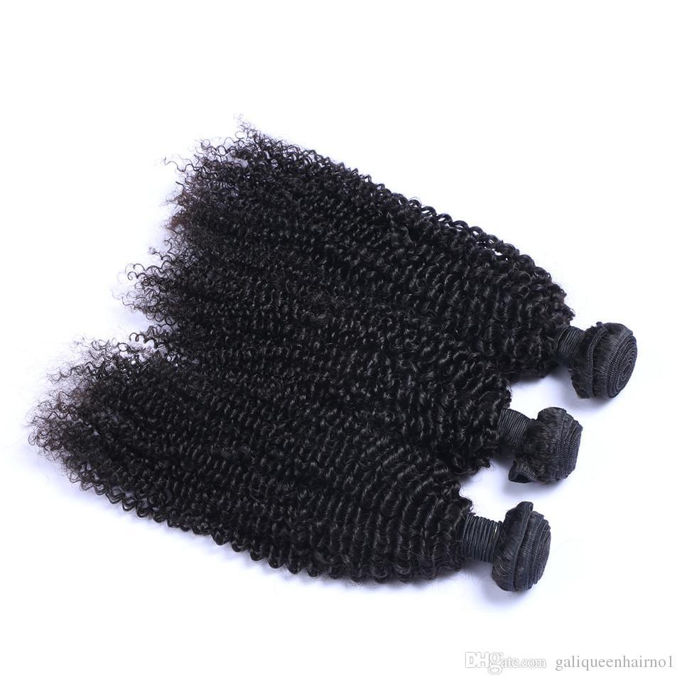 İşlenmemiş Brezilyalı İnsan Remy Virgin Saç Kinky Kıvırcık Saç Saç Uzantıları Doğal Renk 100g örgüleri / paket Çift atkıların 3Bundles /