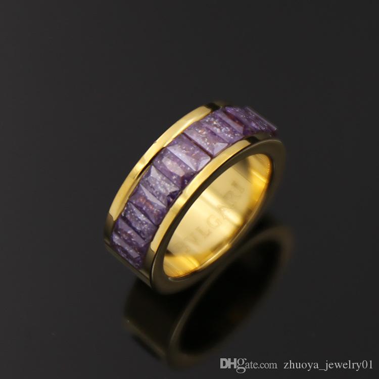 Moyen-Orient sentiments amoureux d'accessoires de mode en gros Naturel noir poudre blanche cristal titane acier anneau femmes en gros