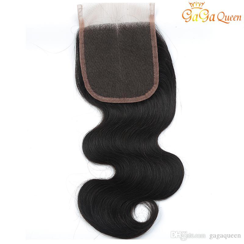 8A capelli vergini brasiliani con estensioni di chiusura 3 pacchi capelli brasiliani dell'onda del corpo con chiusura in pizzo 4x4 non trasformati tessuto dei capelli umani di remy