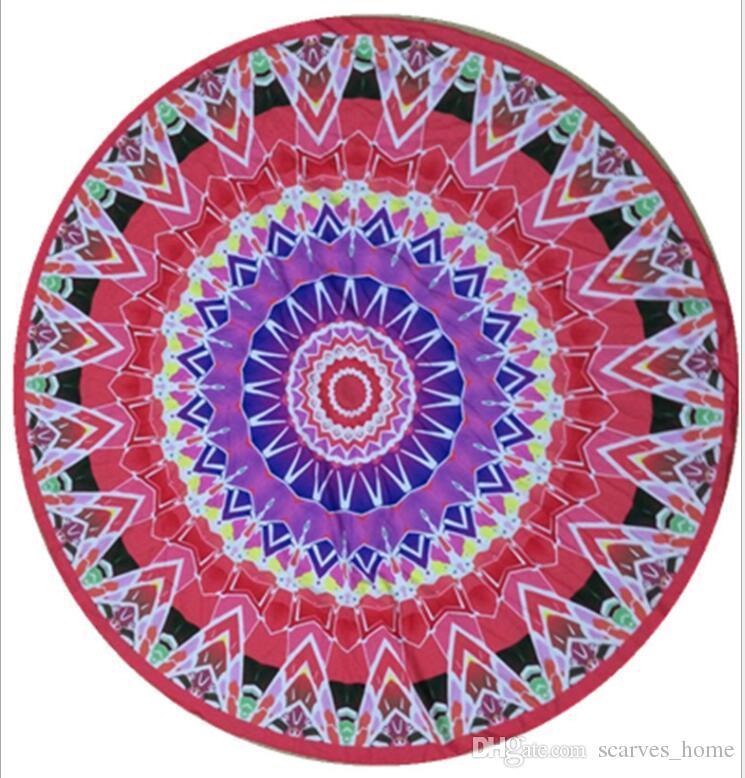 .Round Mandala Beach Towels Printed Tapestry Hippy Boho Tablecloth Bohemian Beach Towel Serviette Covers Beach Shawl Wrap Yoga Mat DHL Free