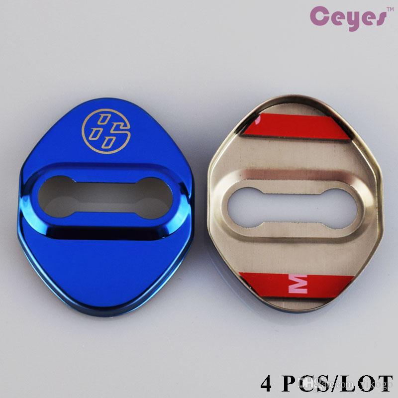 4 قطعة / الوحدة سيارة قفل حامي ملصق المقاوم للصدأ باب السيارة قفل غطاء لتويوتا gt86 كورولا c-hr rav4 سيارة اكسسوارات التصميم
