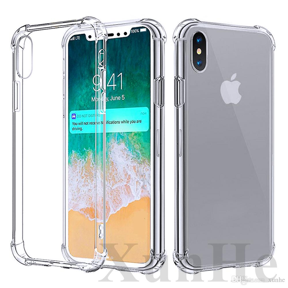 68147cd7 Estuche a prueba de golpes para iPhone XS XSmax iPhone X 8 7 6S Plus Funda  de TPU suave Cubierta transparente para Samsung Note8 S8 S9 Plus