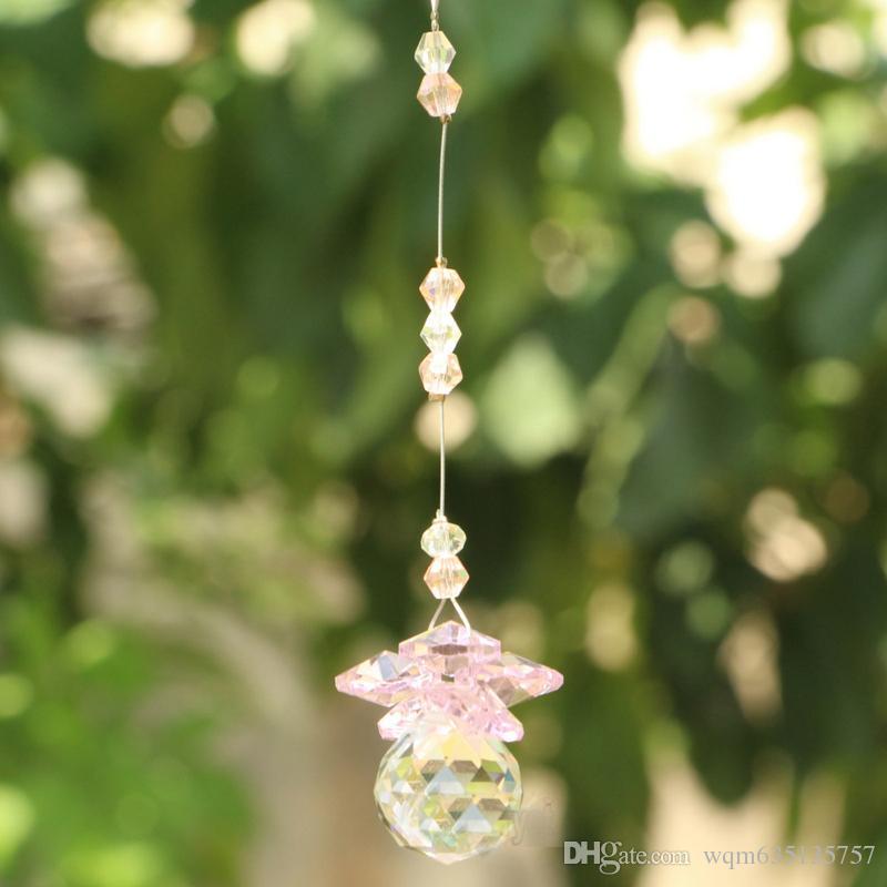 6 قطع k9 كريستال زجاج الكرة suncatcher فنغ شوي المنشور قلادة البندول شنقا ديكور نافذة زخرفة 20 ملليمتر