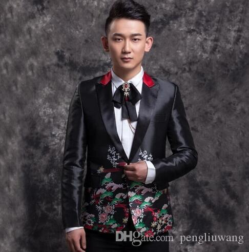 2019 Men Embroidery Suits Designs Stage Costumes For Singers Men Blazer  Dance Clothes Jacket Star Style Dress Punk Black Fashion From Pengliuwang 15e3a26ad1d3