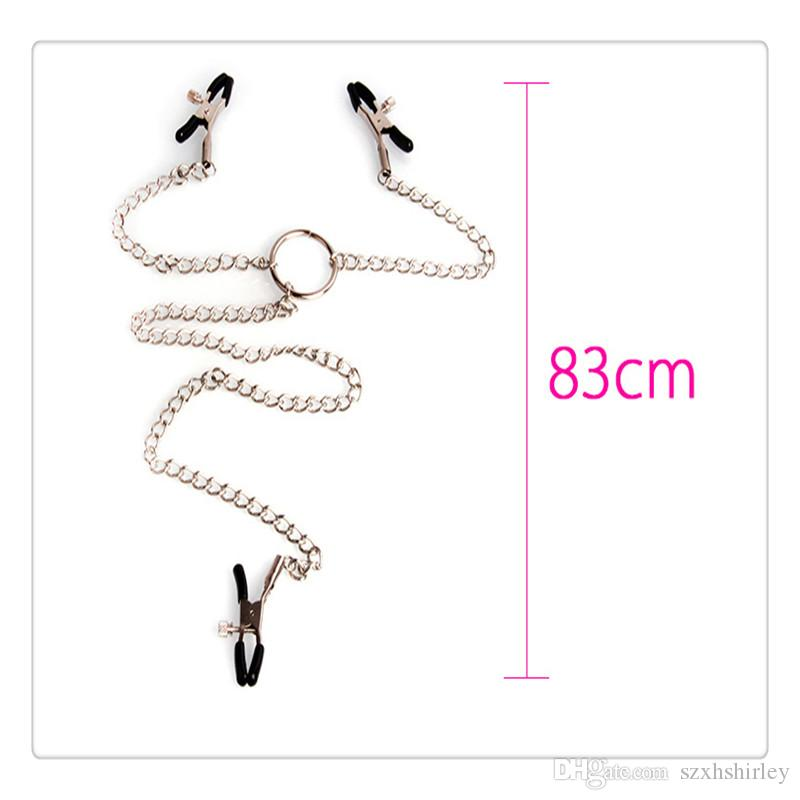2017 New Hot 3 In 1 Nipple Clamps Heads Sex Toys Ladys Breast Nipple Stimulating Nipple Clit Clip Chain Sex Game Women Bondage Set Sex Toy