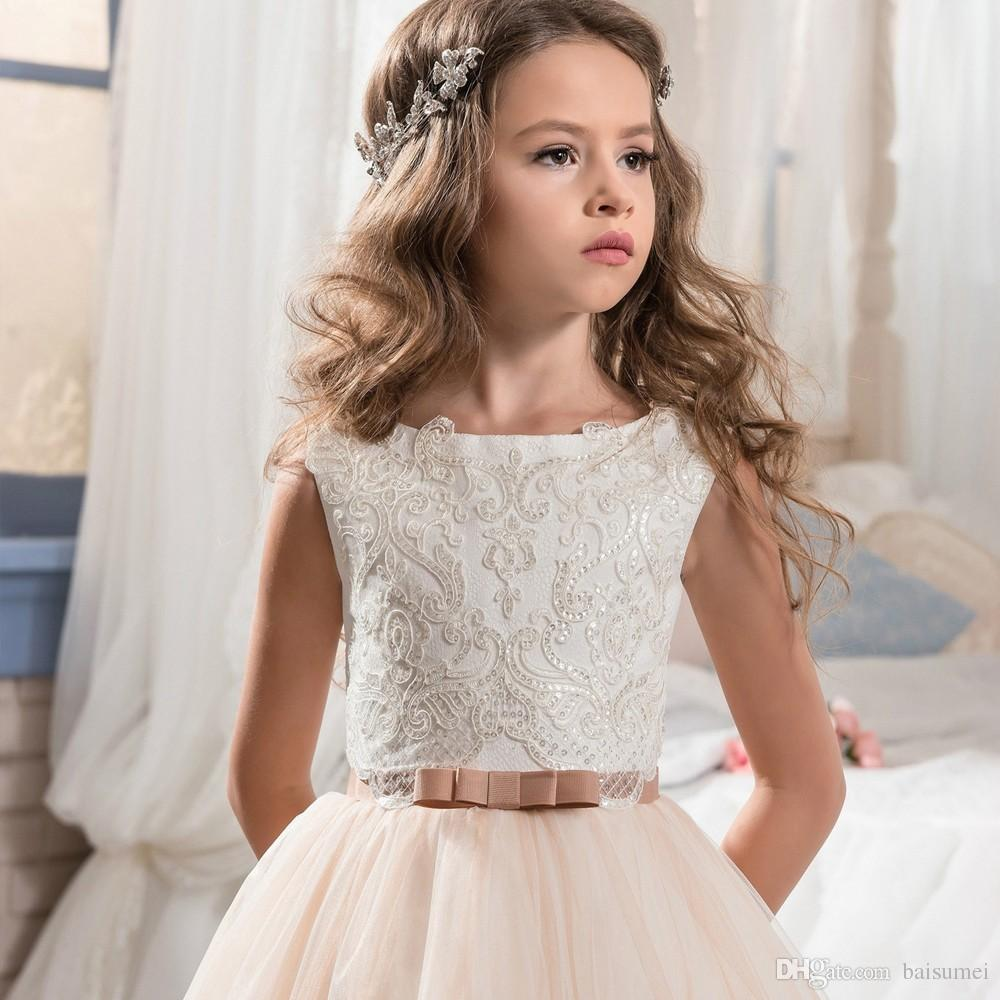 Beautiful Pageant Flower Girls Dresses for Little Girl Size 8 12 Puffy Long Kids Prom Dresses Evening Ball Gown Lace Hem