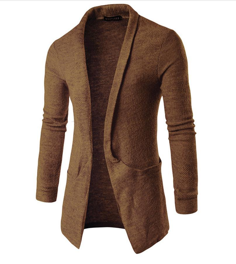 Knitted Sweatshirt Coat Men Big Turn Down Collar Cardigan Pockets ...