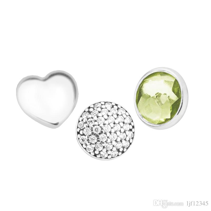 August Petites Peridot & Clear CZ Charm for Locket necklace Charms Fits Pandora Bracelet sterling silver jewelry making charms