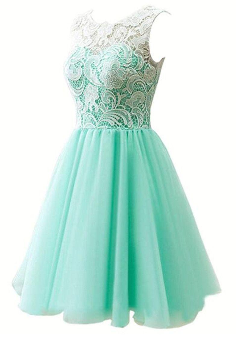 Mint Green 8th Grade Graduation Dresses Short A Line White Lace Top ...